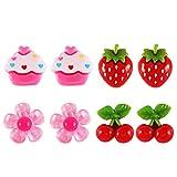 YeahiBaby 4 Paar Clip auf Ohrringe Kinder Mädchen Ohrringe Ohrclips Dress-up Schmuck Spielzeug...