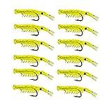 Uayasily Pesca En El Kit del Camarón Cebo Atraer a La Pesca De Los Trastos De Silicona Suave Señuelos Conjunto con El Gancho Amarillo 50pack 100pcs