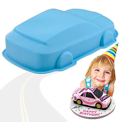 YISUYA Auto-Kuchenform, 3D-Auto-Backform, Neuheit-Kuchenform, Silikon-Auto-Form, Antihaft-Auto-Kuchenform zum Backen, DIY Geburtstags-Kuchenform, Silikon auto für Kuchen, Pudding, Gelee(Blau)