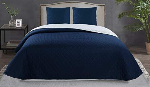 BENEDETTAHOME Colcha Bouti Reversible Primavera-Verano Modelo Lisa, Azul-Nieve con cuadrante Decorativo. Tamaño 200x260 cm + 1 cuadrante de 50x50 cm. Colcha para Cama de 105.