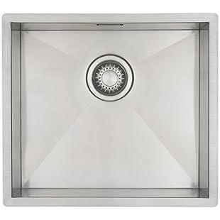 Kitchen Sink Mizzo Design - One/Single Bowl Square Stainless Steel Kitchen Sink- For both undermount and flushmount installation - Satin finish