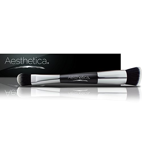 Aesthetica Cosmetics Double Ended Contour and Highlight Makeup Brush for Cream and Powder, Foundation, Blending, Contouring and Highlighting - Vegan and Cruelty Free