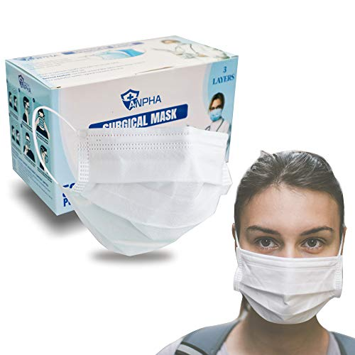 Disposable Face Masks 3 Ply Disposable Face Masks   Level 3 White Fave Masks for Home & Office (50 PCS - WHITE New)