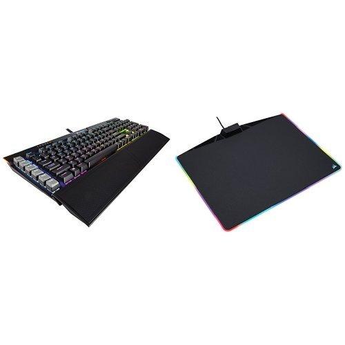 Corsair CH-9127014-IT Gaming K95 Platinum RGB Tastiera Meccanica con Retroilliminazione RGB + CH-9440020-EU MM800 Tappetino per Mouse da Gioco