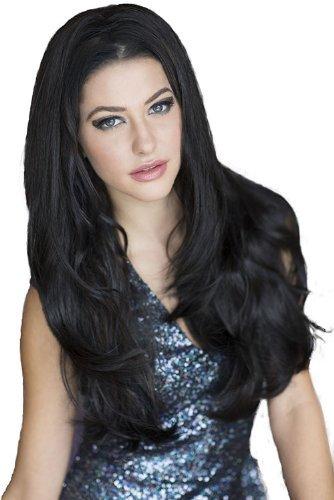 Annabelle de perruques Noir, Délicatement par couches 3/4 ou à moitié Perruque Postiche extension : Raven 250 g