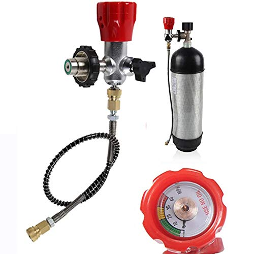 LianDu-US Carbon Fiber Valve Gauge 4500PSI High Pressure SCBA PCP Paintball Air Tank Valve Regulator Fill Station with Quick Disconnect Hose