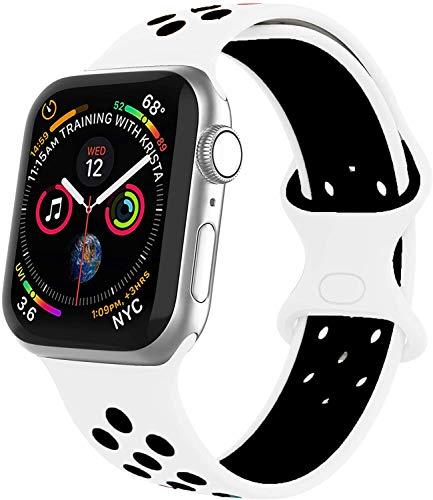 VIKATech Compatible Cinturino per Apple Watch Cinturino 44mm 42mm, Due Colori Morbido Silicone Traspirante Cinturini Sportiva di Ricambio per iWatch Series 6/5/4/3/2/1, S/M, Blanco/Nero