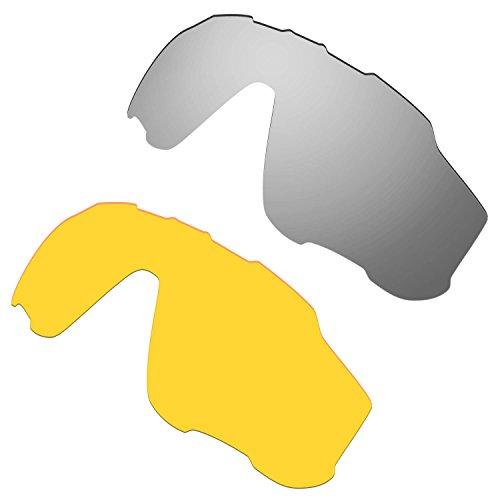 HKUCO Mens Replacement Lenses For Oakley Jawbreaker Sunglasses Silver/Transparent Yellow Polarized