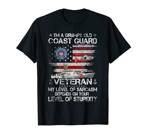 Camiseta para hombre y mujer con texto en inglés I'm a Grumpy Old Coast Guard Veteran Camiseta