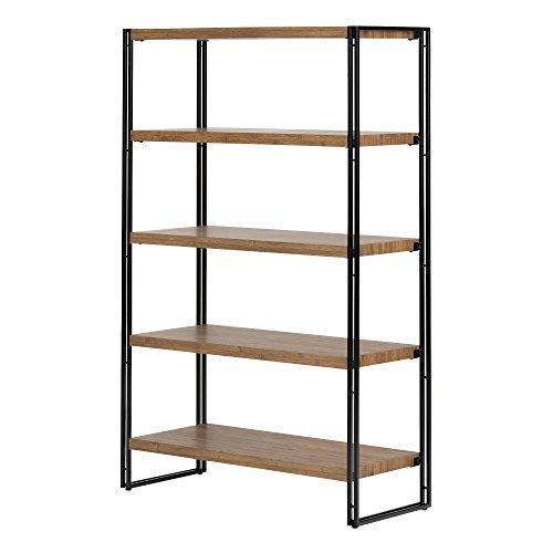 O&K FURNITURE 5-Shelf Corner Etagere Bookcase for Small Space, Industrial Tall Corner Bookshelf, Gray-Brown Finish