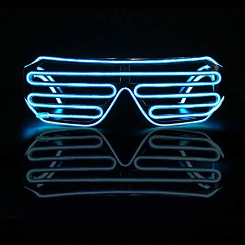 Smyidel EL Wire Leuchtbrille Leuchten Cool Brille,LED Partybrille Glühen Auge Brille Spielzeug Gläser für Holloween,Weihnachten, Nacht Party, Kostüm Konzert Rave,Nacht Aktivitäte,Bar Disko (D)