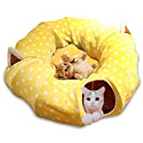 Cat Dog Tunnel Bed with Mat, HOMEYA Collapsible 3 Way Cat Tube Condo Play Toy with Peek Hole Fun Ball Indoor Outdoor Interactive Hideout Exercising House Toys for Pet Kittens Kitty (Yellow)