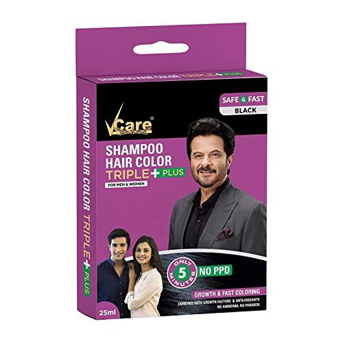 Vcare Shampoo Hair Color, Black, 25ml