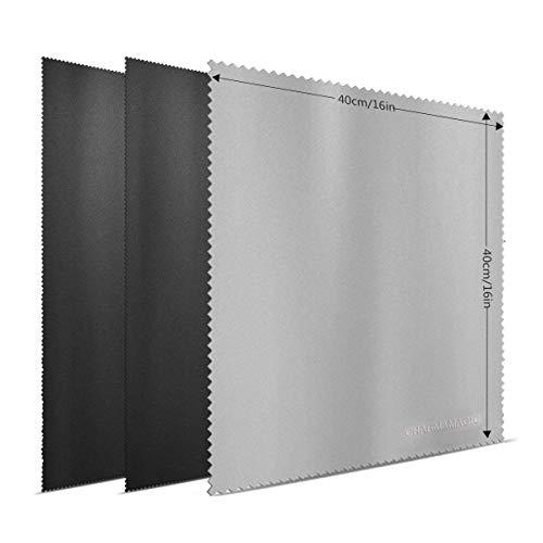 Charm & Magic Extra Großes(40 x 40cm) Mikrofaser Reinigungstücher für Alle Arten von Bildschirmen-3er-Pack(2 Schwarz + 1 Grau)