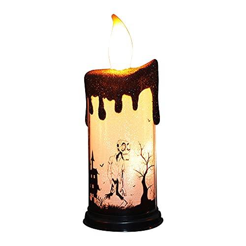 KIHL Velas parpadeantes sin Llama de Halloween, lámpara LED de luz, candelabro, Adorno de Mesa, decoración de iluminación para Fiestas en casa, Esqueleto