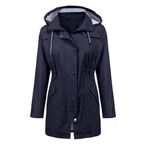 Best Gift for Woman! Lankcook Women Solid Rain Jacket Outdoor Hoodie Waterproof Hooded Raincoat Windproof Tops Navy