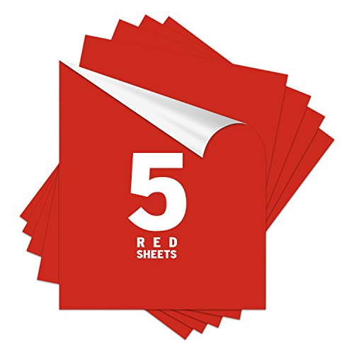 Red HTV Heat Transfer Vinyl for Christmas Decoration 12x10inch 5 Sheets Pack-Iron On Vinyl HTV on t-Shirt Bundle Assorted Pack Iron on HTV Vinyl for Silhouette Cameo, Cricut or Heat Press