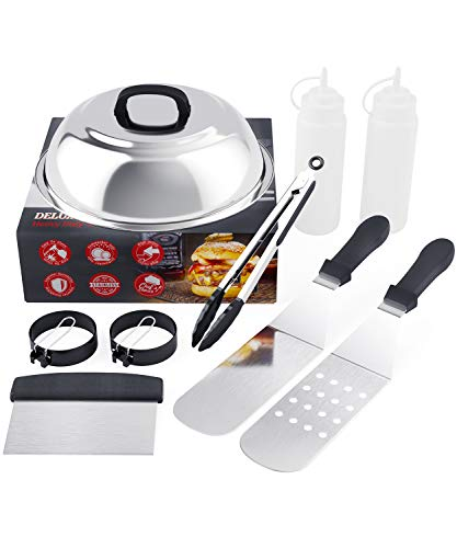 SHINESTAR Griddle Accessories Kit for Blackstone, Griddle Spatula Set for Flat Tops, Camp Chef, 9-Piece Stainless Steel Hibachi Tools Kit - Melting Dome, Spatulas, Scraper, Bottles, Tongs, Egg Ring