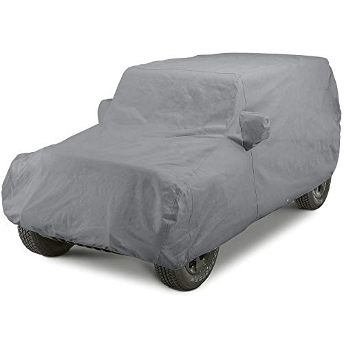 OOFIT Car Cover Universal Fit for 2007-2018 Jeep Wrangler 2 Door SUV, Water Resistant & Weather Protection Windproof Dustproof Scratch Proof & Adhesive Repair Patch Grey