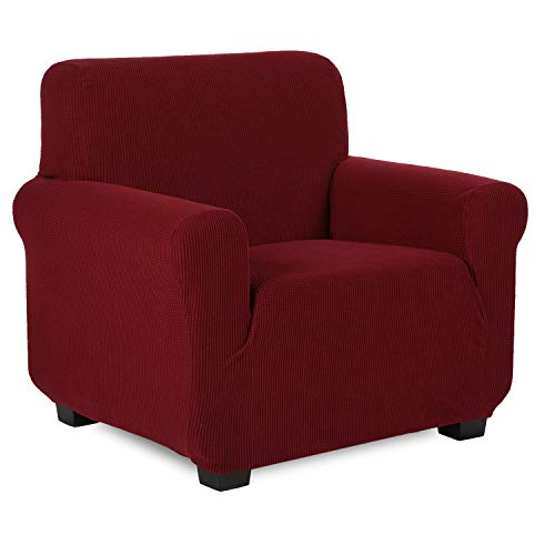 TIANSHU Sesselbezüge,Spandex Sofabezug Stretch Couchbezug Elastischer Antirutsch Stretchhusse Weich Stoff,Jacquard-Stretch-Sofabezug, sesselbezug Schonbezug für Sofa-Sofahalter (Sesselbezüge,Weinrot)