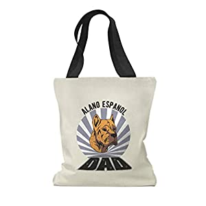 Custom Canvas Tote Shopping Bag Dad Alano Espanol Dog Alano Espanol Reusable Beach Bags for Women 47