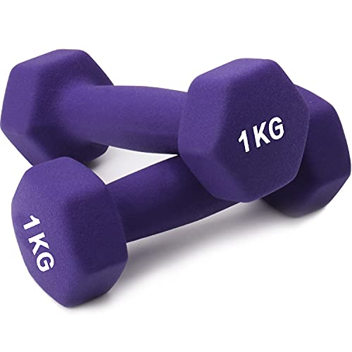 hoinya Hanteln, kurzhanteln 2er Set Kurzhanteln Übung Fitness Hantel für Frauen Männer Kinder (Violett 2 X 1 kg)