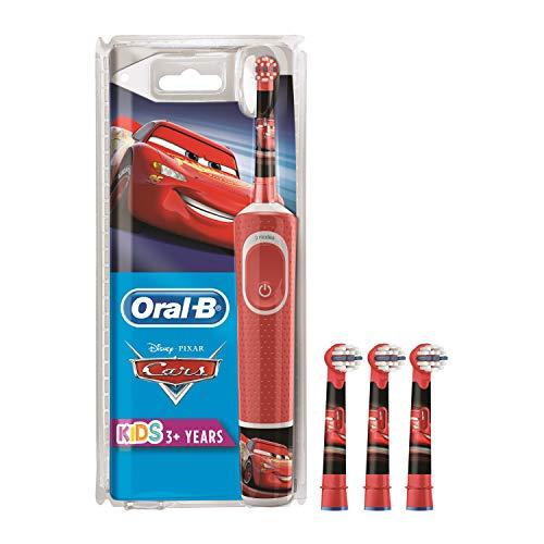 Oral-B Kids Spazzolino Elettrico Ricaricabile Disney Pixar Cars, 1 Manico, per Età da 3 Anni + Confezione da 3 Pezzi di Testine di Ricambio con Personaggi Casuali