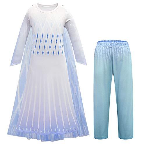 VersusModa Vestito Bambina Carnevale Simile Elsa Bianco Regina delle Nevi 2 - Similar Elsa 2 White Child Cosplay Dress FROZ036 B (Set Vestito+Pantaloni, 130)