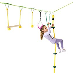 Powerfly Ninja Hanging Obstacle Course Kit for Kids