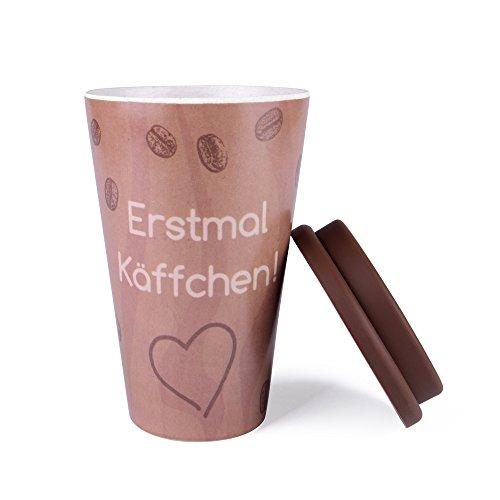 EAST-WEST Trading GmbH Coffee-to-Go-Becher aus Bambus, Kaffe-Becher, Trink-Becher ökologisch abbaubar, recyclebar, umweltfreundlich, lebensmittelecht, spülmaschinengeeignet
