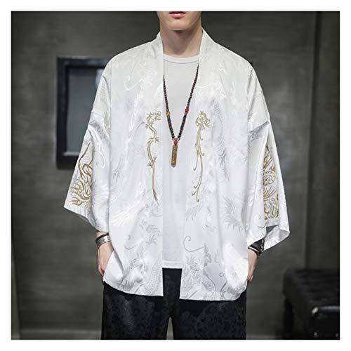VIAIA Antiguo Bordado Hanfu Retro Kimono Cardigan Estilo Chino Outwear Hombres Ropa Flojo Satn Abrigo Suelto Cosplay Disfraces 5XL (Color : White, Size : 5XL)