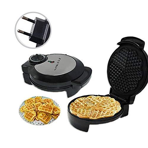 Máquina para hacer gofres antiadherentes pequeña de 1200 W, calefacción de doble cara, temperatura ajustable, fácil de transportar y bajo consumo de energía, adecuada para cocina, al aire libre