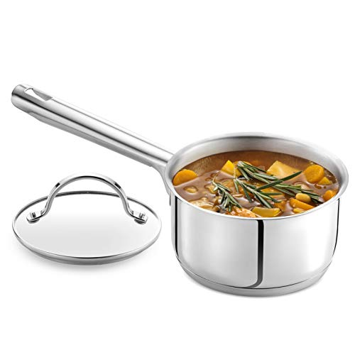 GOURMEX Tango Induction Saucepan   Stainless Steel Pot With Glass Cookware Lid   Interior Measurement Markings   Compatible with All Heat Sources   Dishwasher Oven Safe (1.2 Quart)