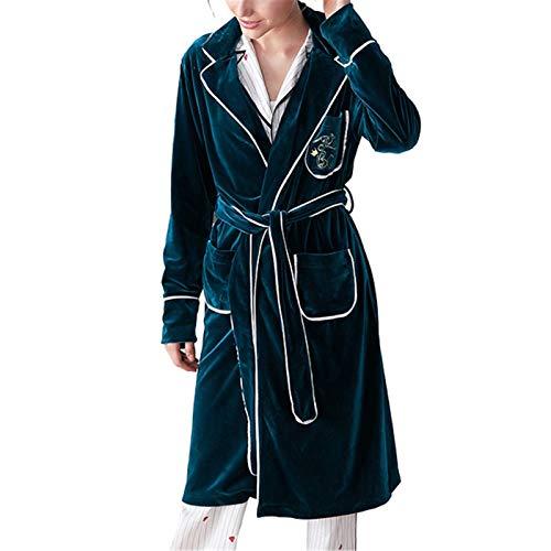 Albornoces Albornoces Pijamas de Invierno Luxury European and American Home Bordado de Albornoz de otoño Batas de casa Ligeras (Color : Verde, Size : M)