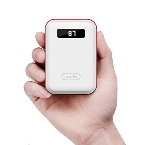 iMuto Powerbank 10000mAh Mini Extern Akku USB Tragbar Handy Ladegerät LED-Display Smartphone Akkupack für iPhone X 8 7 6 6S Plus 5S, iPad, Nintendo Switch, Samsung Galaxy, Gopro, Tablet UVM. (Weiß)