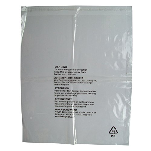 50 CLEAR TRANSPARENT PLASTIC SELF SEAL GARMENT CLOTHING RETAIL PACKAGING BAGS SAFETY WARNING EXTRA LARGE XL 18x22' 450x550mm 38mu POLYPROPYLENE SHIRT T-SHIRT STORAGE PROTECTION DISPLAY PACKING