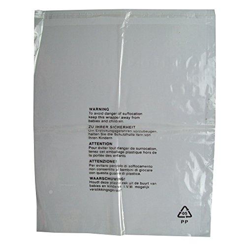 25bolsas de embalaje con advertencia de seguridad, cierre autoadhesivo, plástico transparente,tamaño extragrande de 450x 550mm, 38 micras, resistentes