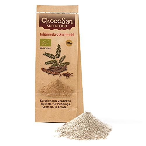 ChocoSan Johannisbrotkernmehl Bio 200g - natürliches low carb Bindemittel, Verdickungsmittel, veganer Ei Ersatz, Geliermittel, Speisestärke Ersatz, glutenfreies Lebensmittel