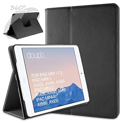 doupi Deluxe Schutzhülle für iPad Mini 1 2 3, Smart Case Sleep/Wake Funktion 360 Grad drehbar Schutz Hülle Ständer Cover Tasche, schwarz