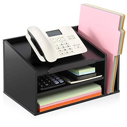 FITUEYES Organizador de Escritorio Madera Negro con 3 Compartimientos 1 Soporte para Teléfono Suministros Oficina Casa 39x24.5x21.1 cm TR303901WB