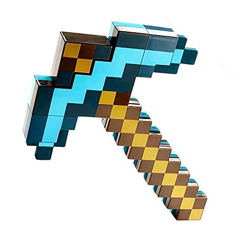 JYMEI Blue Sword Diamond Sword Plastic,Two-in-One Deformed Sword Spitzhacke,Minecraft Game Peripheral Toy,Waffen Requisiten Ausrüstungsmodell,Fantasy Pretend Play für Kinder