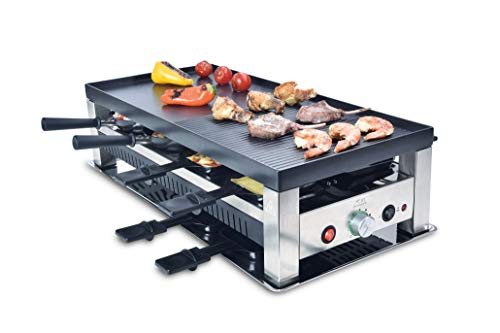 Solis Grill 5 in 1, Raclette/Tischgrill/Wok/Crêpes/Pizza, 8 Personen, Edelstahl, Table Grill 5 in 1 (Typ 790)
