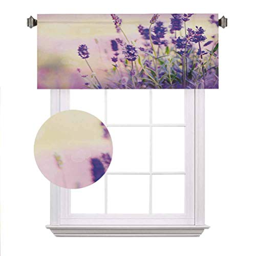 Lavender Window Valance,Dreamlike Spring Day with Fresh Blossoms Aromatic Delicate Wild Flowers Decorative Curtain Valance for Kitchen Bedroom Decor with Rod Pocket,52'x 18',Lavender Lilac Green