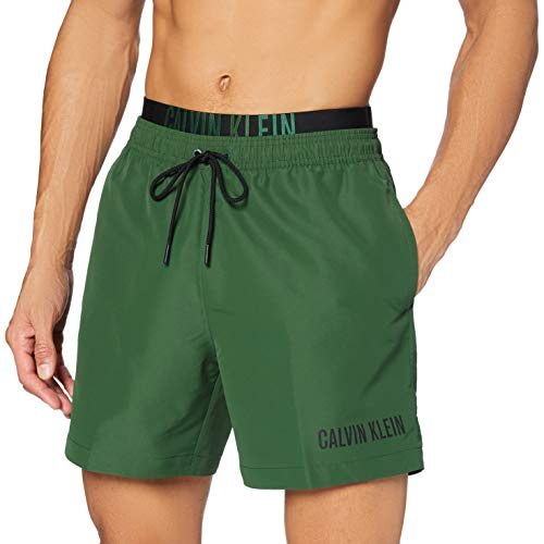 Calvin Klein Herren Medium Double Wb Badehose, Grün (Dark Green LC0), Medium