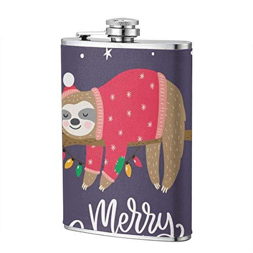 XBYC Frohe Weihnachten Faultier Lila Schnaps- und Trichterflasche 8 Unzen auslaufsichere Edelstahl-Taschenflasche für Alkohol Whisky Rum und Wodka Herrengeschenk