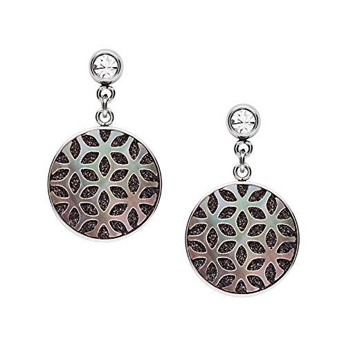 Fossil - Silberfarbener Stahl Blumenausschnitt Perlmutt Tropfen Ohrringe für Frauen JF03267040