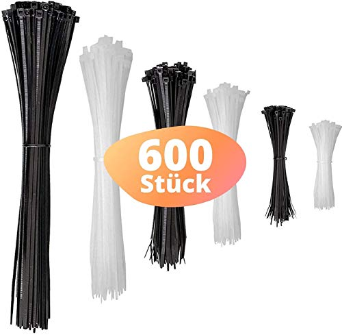 djb, extra hochwertige Profi Kabelbinder, schwarz/weiss-natur, Set, 600 Stück, Industrie-Qualität, Sortiment 80/100/130/160/200/300 mm