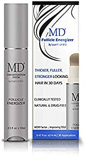 MD Factor Natural Hair Growth Serum | Follicle Energizer Serum - Prevents Thinning Hair & Hair Loss By Stimulating Hair Follicles To Produce Thicker, Fuller Hair (30-Day Supply Per Tube)
