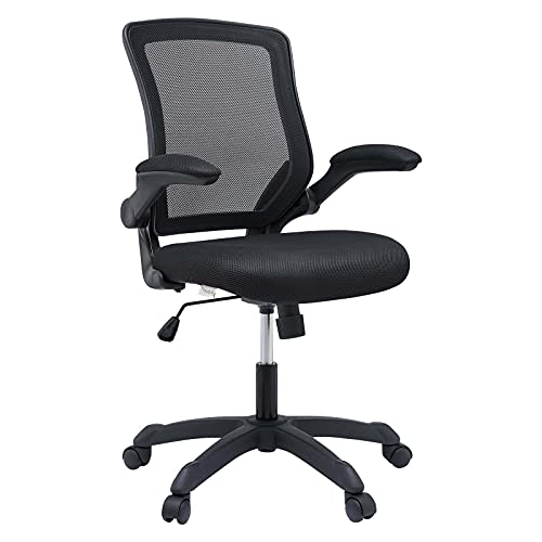 Modway Veer Office Chair with Mesh Back and Vinyl Seat With Flip-Up Arms in Black