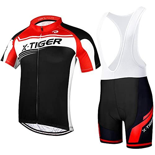 X-TIGER da Ciclismo Uomo 5D Gel Salopette Pantaloncini Corti Imbottiti Set di Abbigliamento Ciclista (Dbt-01601, XL)